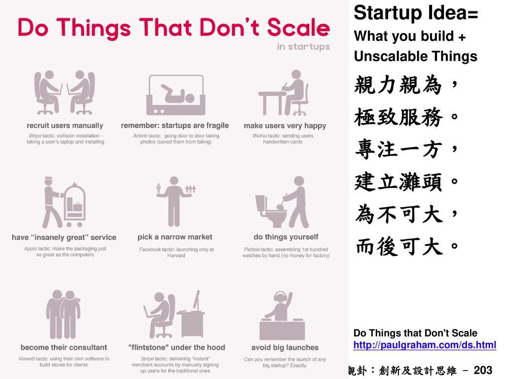 親力親為, 極致服務。 專注一方, 建立灘頭。 為不可大, 而後可大。 Startup Idea= What you build +
