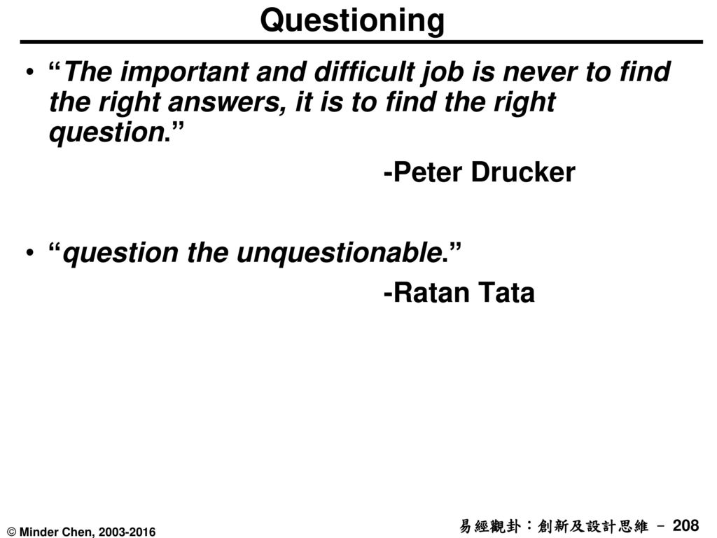 Questioning The important and difficult job is never to find the right answers, it is to find the right question.