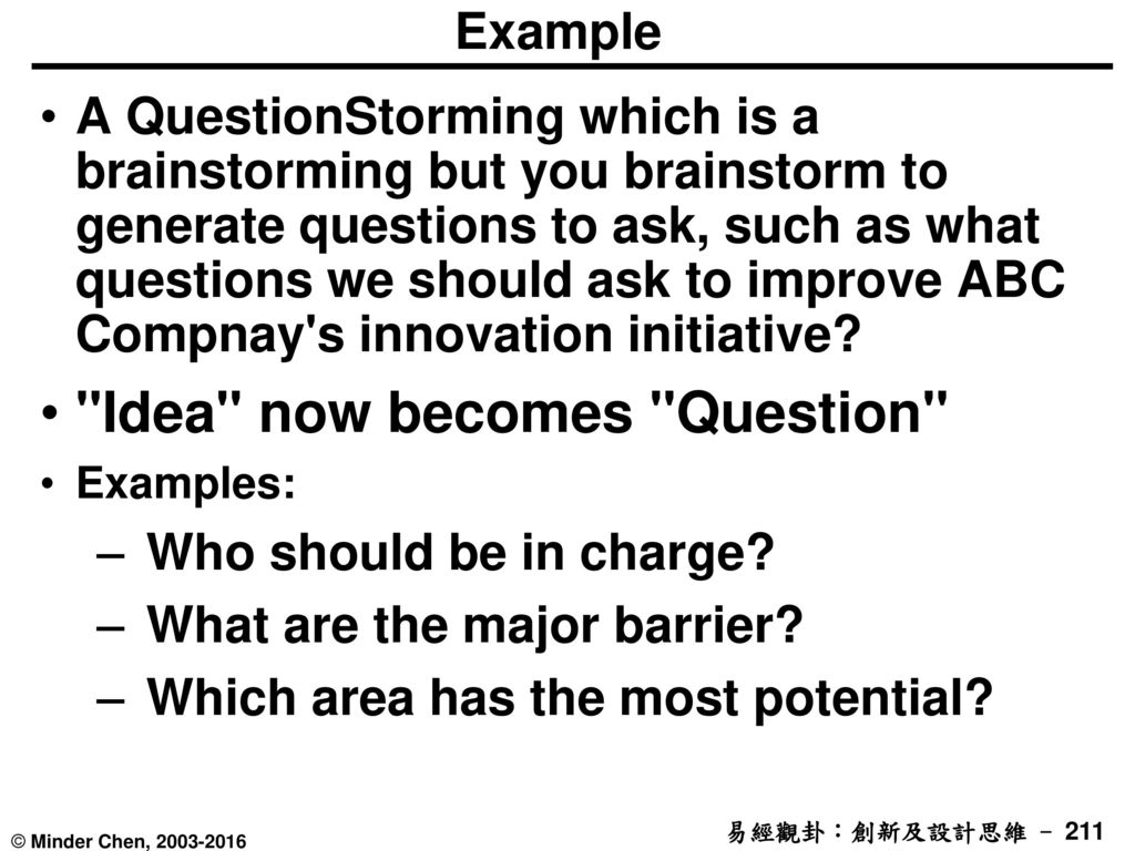 Idea now becomes Question