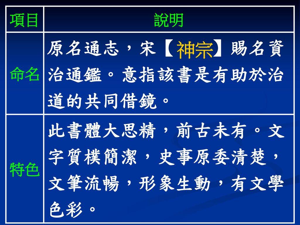 原名通志,宋【 】賜名資治通鑑。意指該書是有助於治道的共同借鏡。