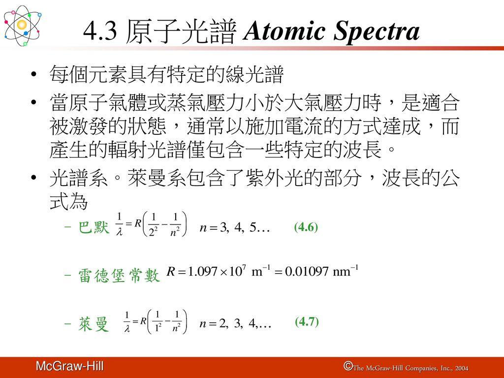 4.3 原子光譜 Atomic Spectra 每個元素具有特定的線光譜