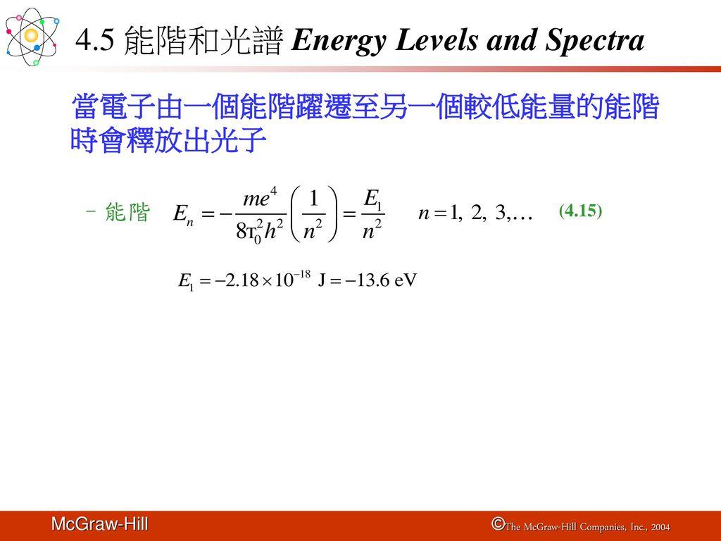 4.5 能階和光譜 Energy Levels and Spectra