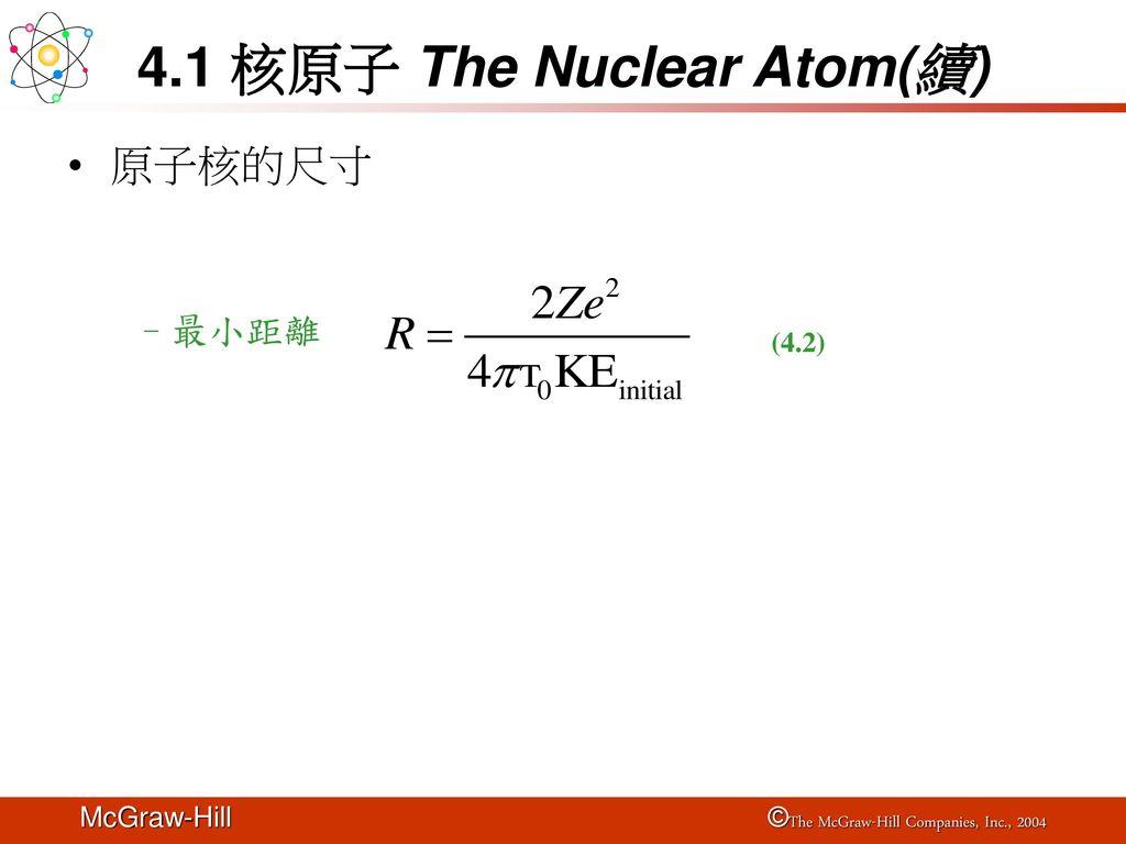 4.1 核原子 The Nuclear Atom(續)