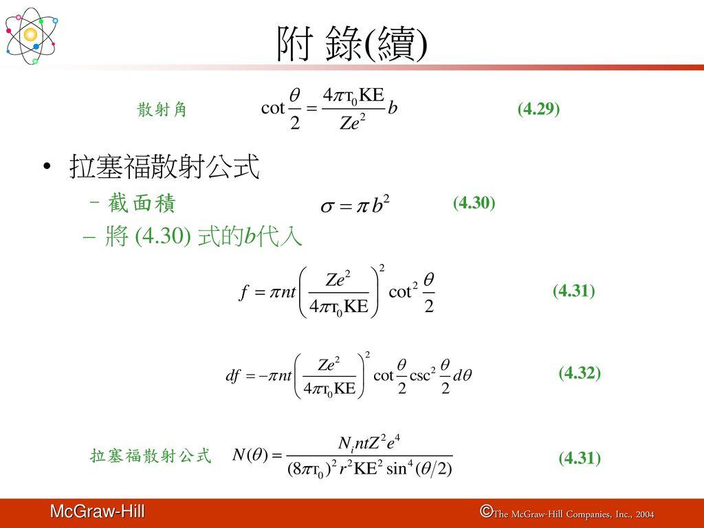 附 錄(續) 拉塞福散射公式 截面積 將 (4.30) 式的b代入 散射角 (4.29) (4.30) (4.31) (4.32)