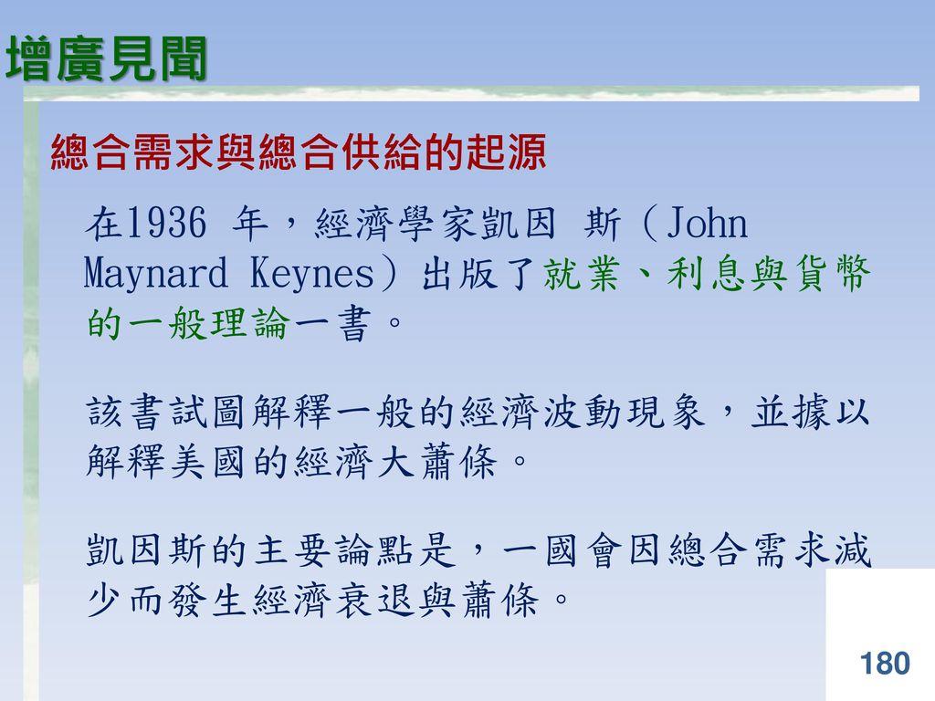 增廣見聞 總合需求與總合供給的起源. 在1936 年,經濟學家凱因 斯(John Maynard Keynes)出版了就業、利息與貨幣 的一般理論一書。 該書試圖解釋一般的經濟波動現象,並據以 解釋美國的經濟大蕭條。