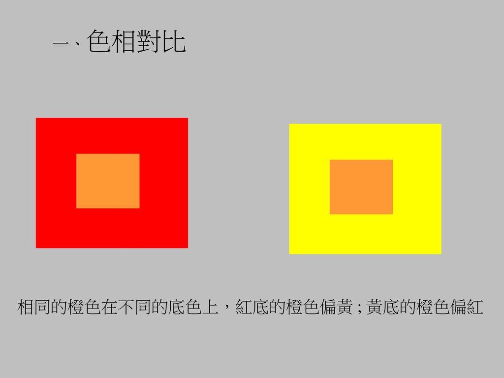 一、色相對比 相同的橙色在不同的底色上,紅底的橙色偏黃 ; 黃底的橙色偏紅