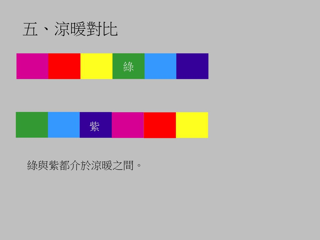 五、涼暖對比 綠 紫 綠與紫都介於涼暖之間。
