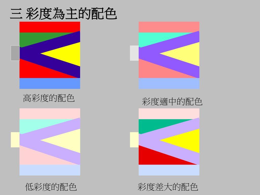 三 彩度為主的配色 高彩度的配色 彩度適中的配色 低彩度的配色 彩度差大的配色