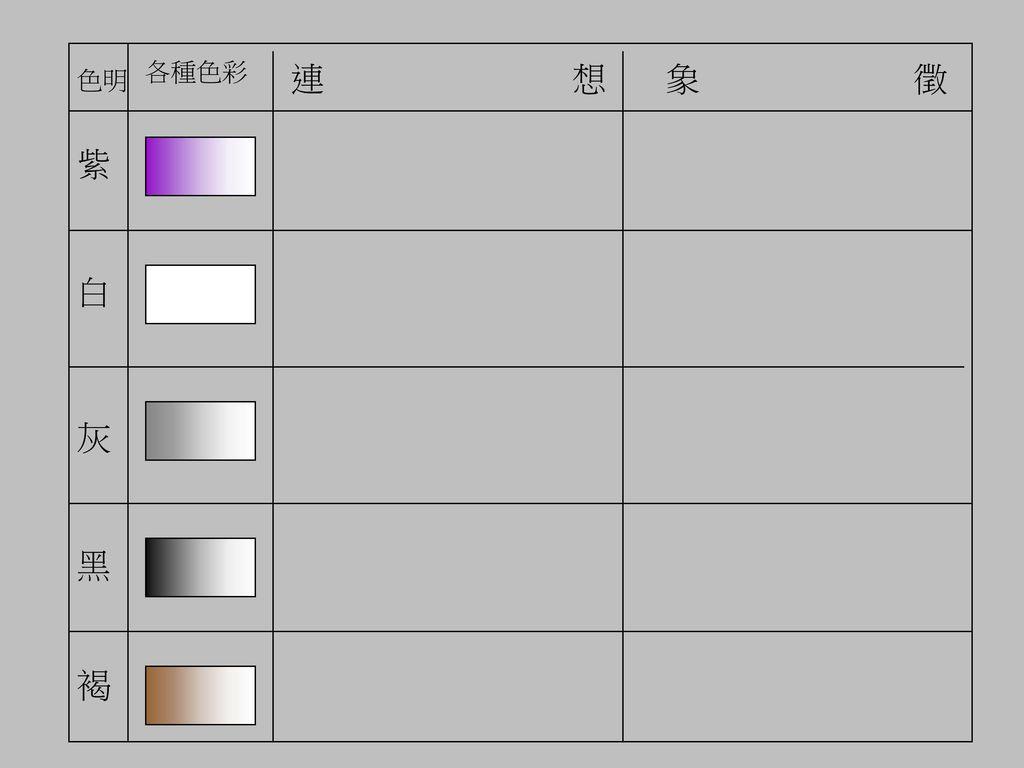 各種色彩 連 想 象 徵 色明 紫 白 灰 黑 褐