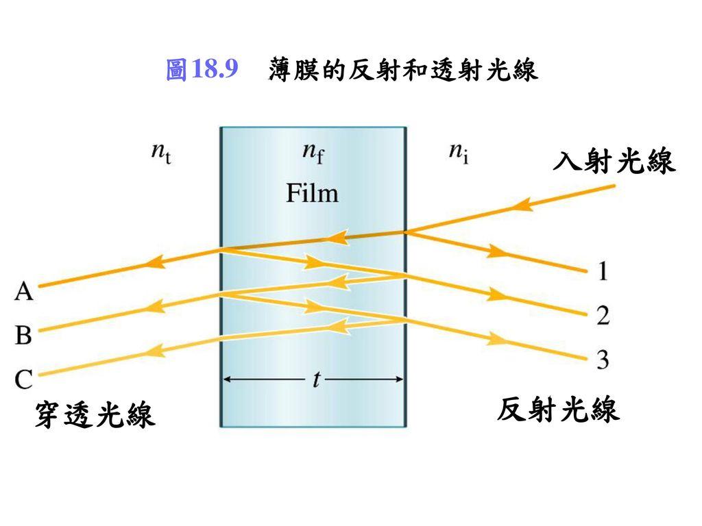 圖18.9 薄膜的反射和透射光線 入射光線 反射光線 穿透光線