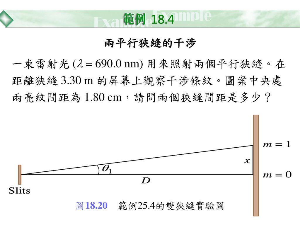 18.4 兩平行狹縫的干涉. 一束雷射光 (l = 690.0 nm) 用來照射兩個平行狹縫。在距離狹縫 3.30 m 的屏幕上觀察干涉條紋。圖案中央處兩亮紋間距為 1.80 cm,請問兩個狹縫間距是多少?