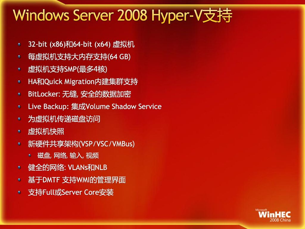 Windows Server 2008 Hyper-V支持
