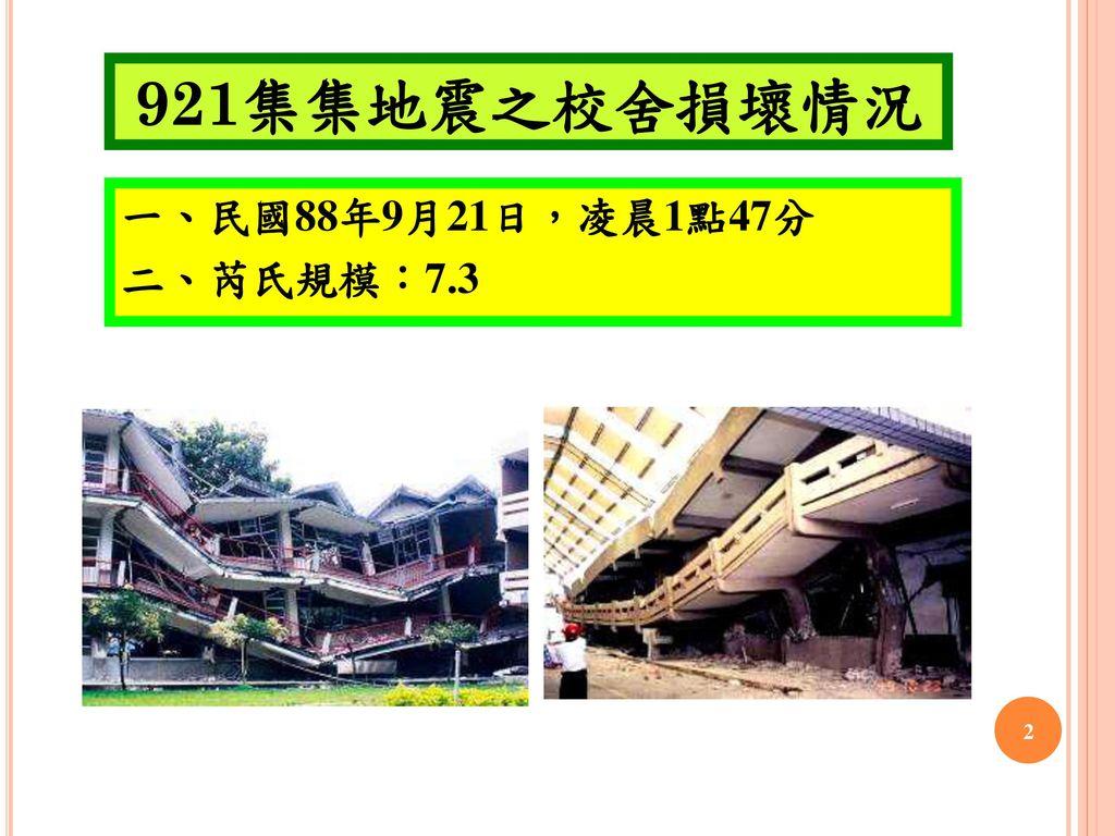 921集集地震之校舍損壞情況 一、民國88年9月21日,凌晨1點47分 二、芮氏規模:7.3