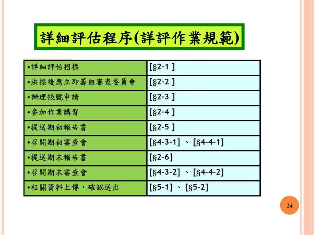 詳細評估程序(詳評作業規範) 24