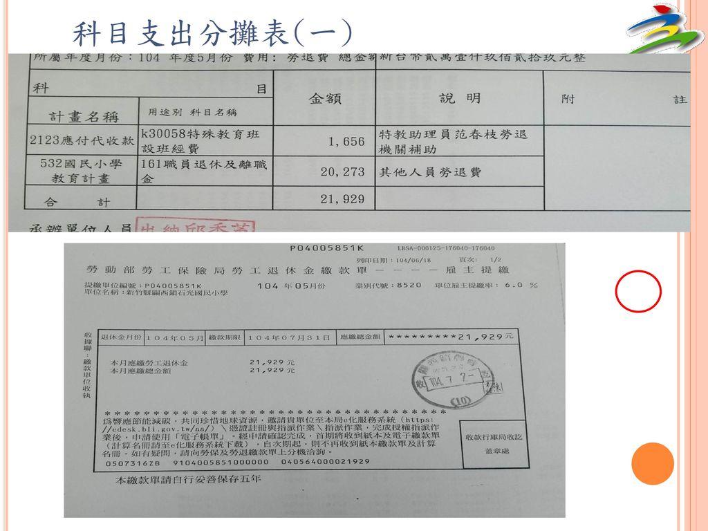 科目支出分攤表(一)