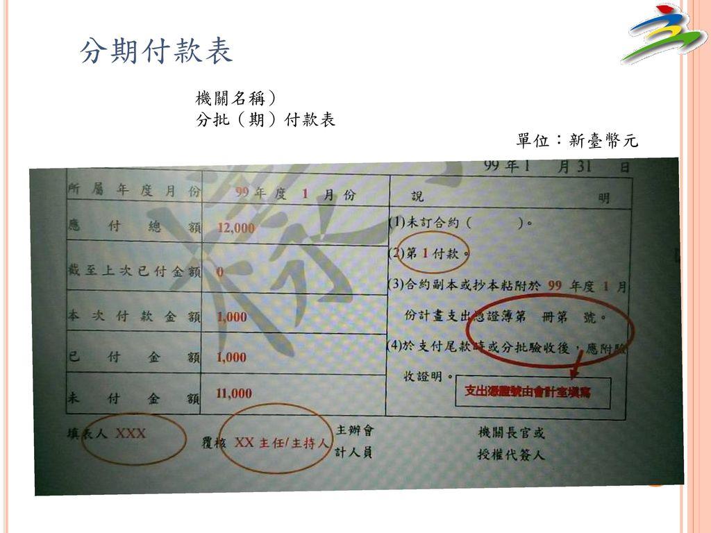 分期付款表 機關名稱) 分批(期)付款表 單位:新臺幣元