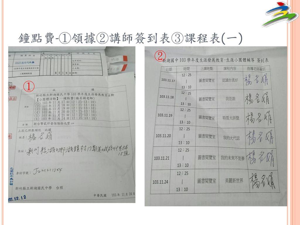 鐘點費-①領據②講師簽到表③課程表(一)