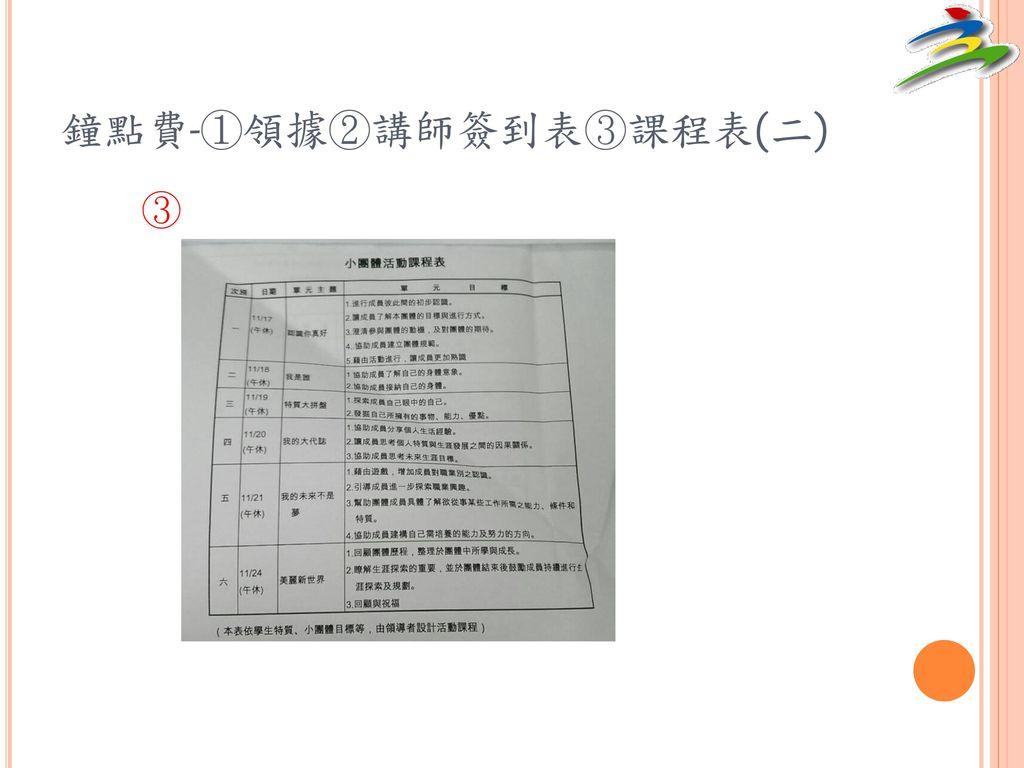 鐘點費-①領據②講師簽到表③課程表(二)