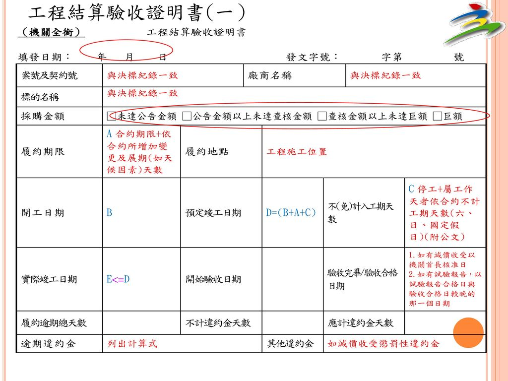 工程結算驗收證明書(一)