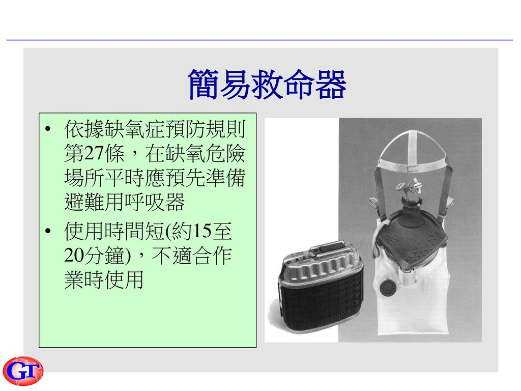 氧氣發生型呼吸器使用要點(1) 檢查呼吸器狀態 啟封克勞雷特蠟燭 確認使用期限尚未超過,且該蠟燭尚未使用過