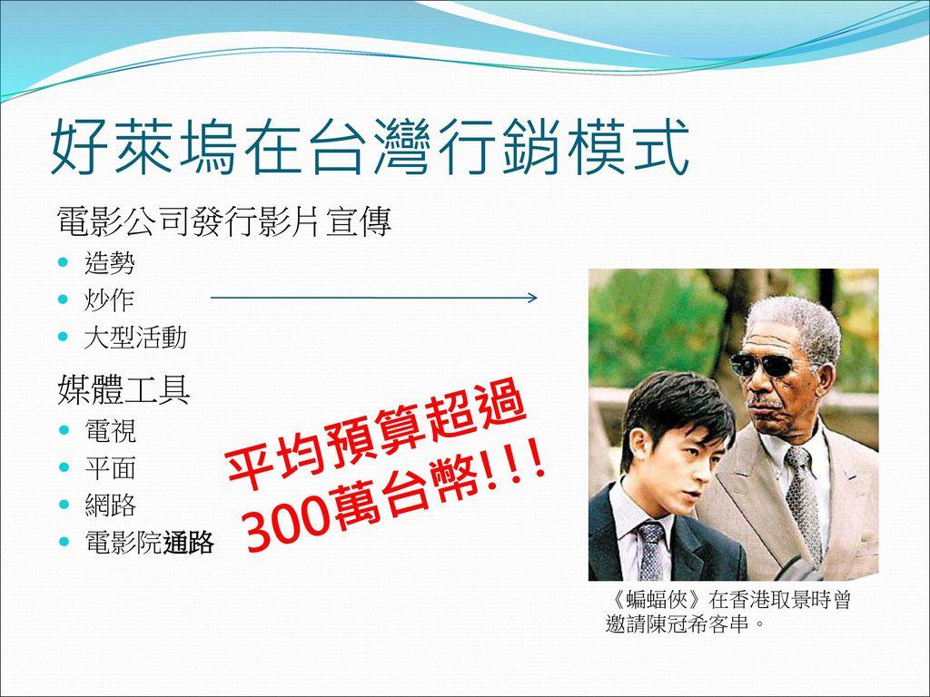 好萊塢在台灣行銷模式 平均預算超過300萬台幣!!! 電影公司發行影片宣傳 媒體工具 造勢 炒作 大型活動 電視 平面 網路 電影院通路
