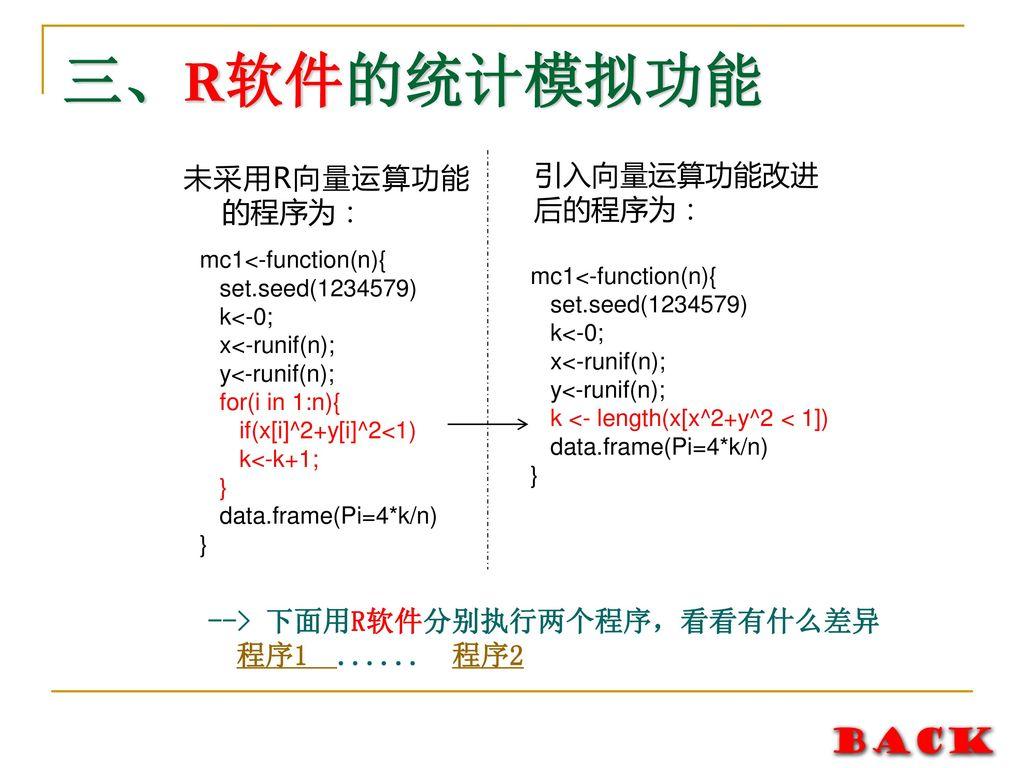 三、R软件的统计模拟功能 未采用R向量运算功能的程序为: 引入向量运算功能改进后的程序为: