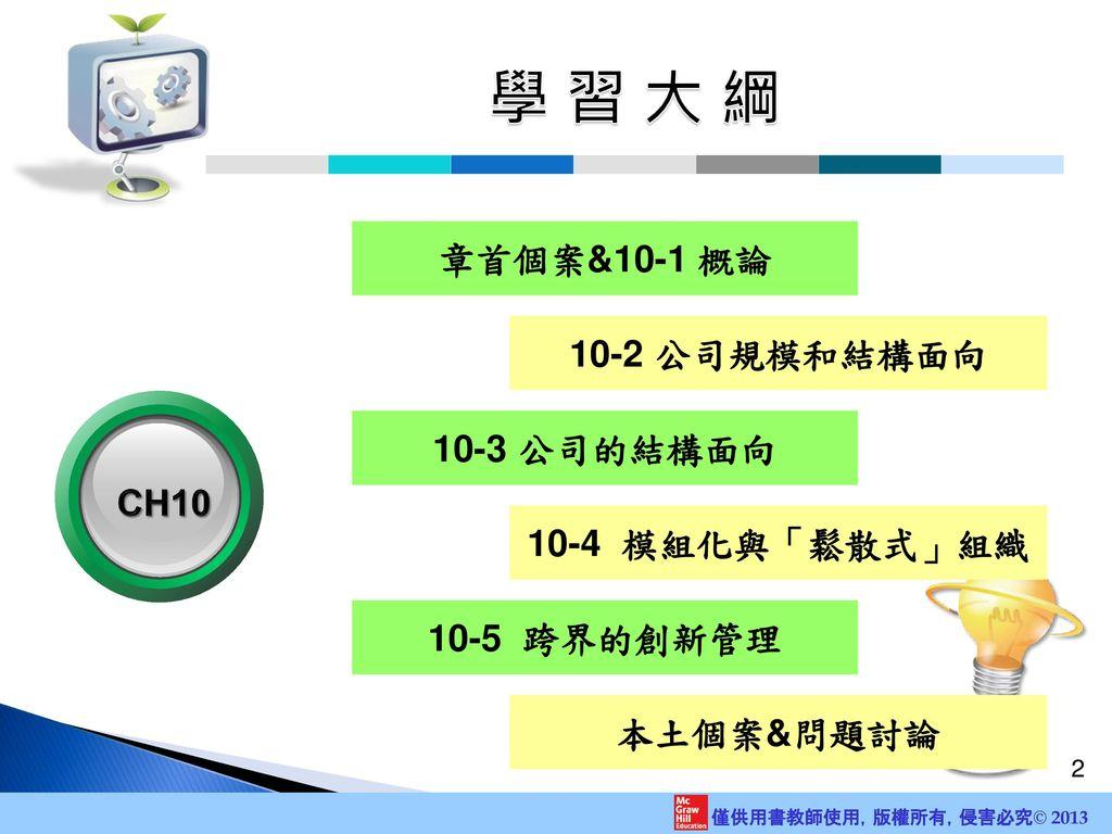 學 習 大 綱 章首個案&10-1 概論 10-2 公司規模和結構面向 10-3 公司的結構面向 CH10 10-4 模組化與「鬆散式」組織