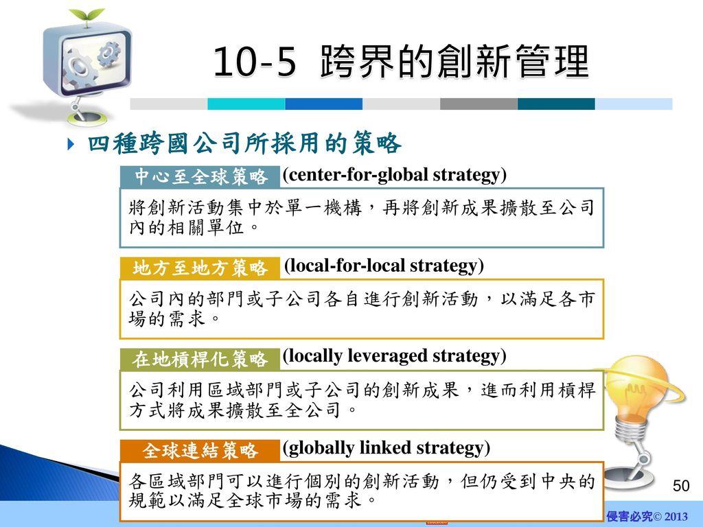 10-5 跨界的創新管理 四種跨國公司所採用的策略 (center-for-global strategy) 中心至全球策略