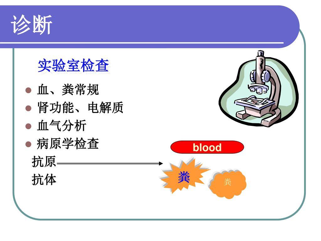 诊断 实验室检查 血、粪常规 肾功能、电解质 血气分析 病原学检查 抗原 抗体 blood 粪 粪