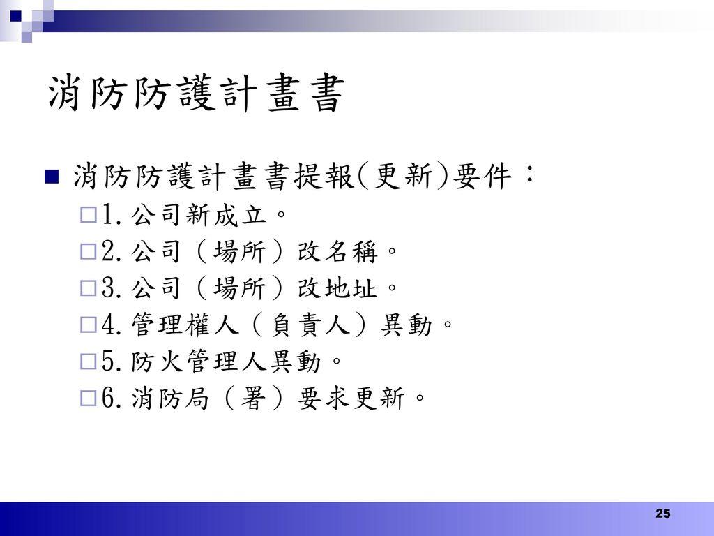 消防防護計畫書 消防防護計畫書提報(更新)要件: 1.公司新成立。 2.公司(場所)改名稱。 3.公司(場所)改地址。