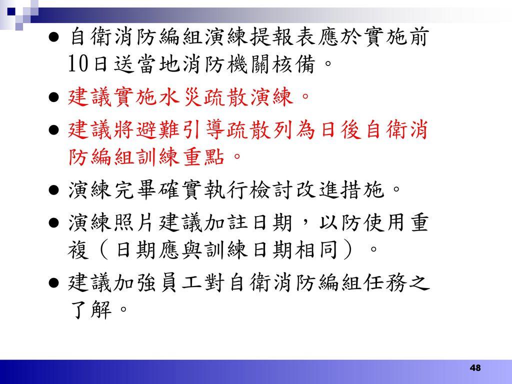 自衛消防編組演練提報表應於實施前10日送當地消防機關核備。