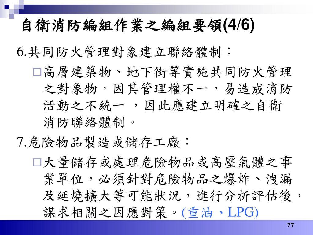 自衛消防編組作業之編組要領(4/6) 6.共同防火管理對象建立聯絡體制: