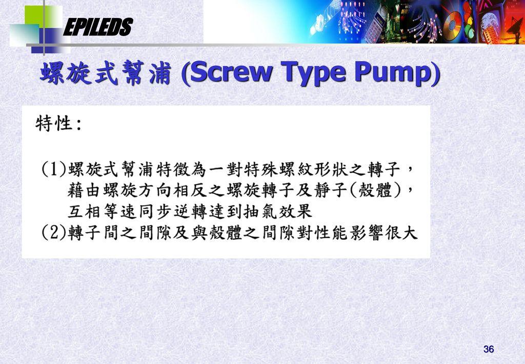 螺旋式幫浦 Screw Type Pump