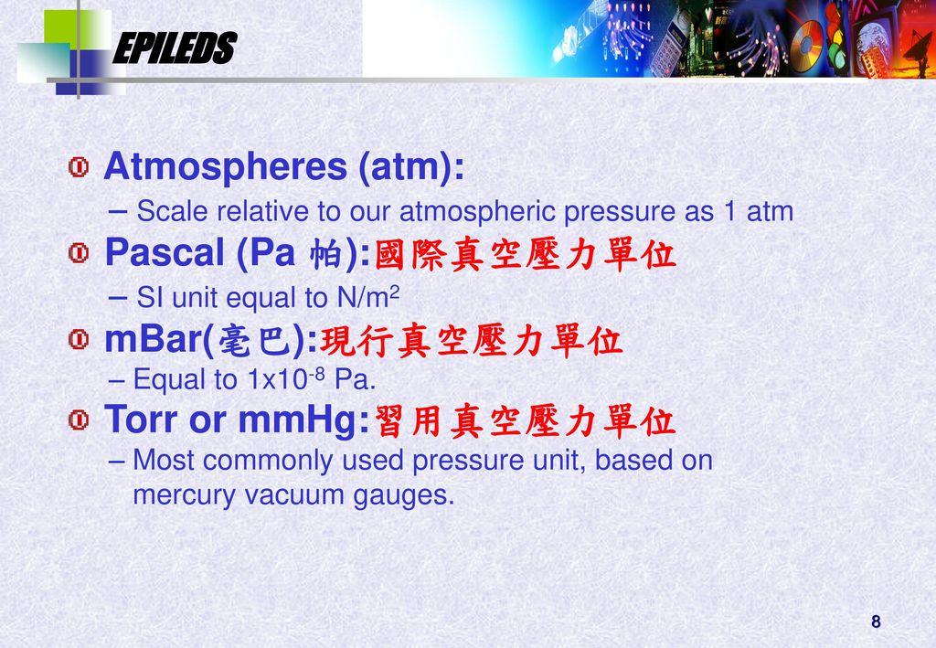 Pascal (Pa 帕):國際真空壓力單位 mBar(毫巴):現行真空壓力單位 Torr or mmHg:習用真空壓力單位