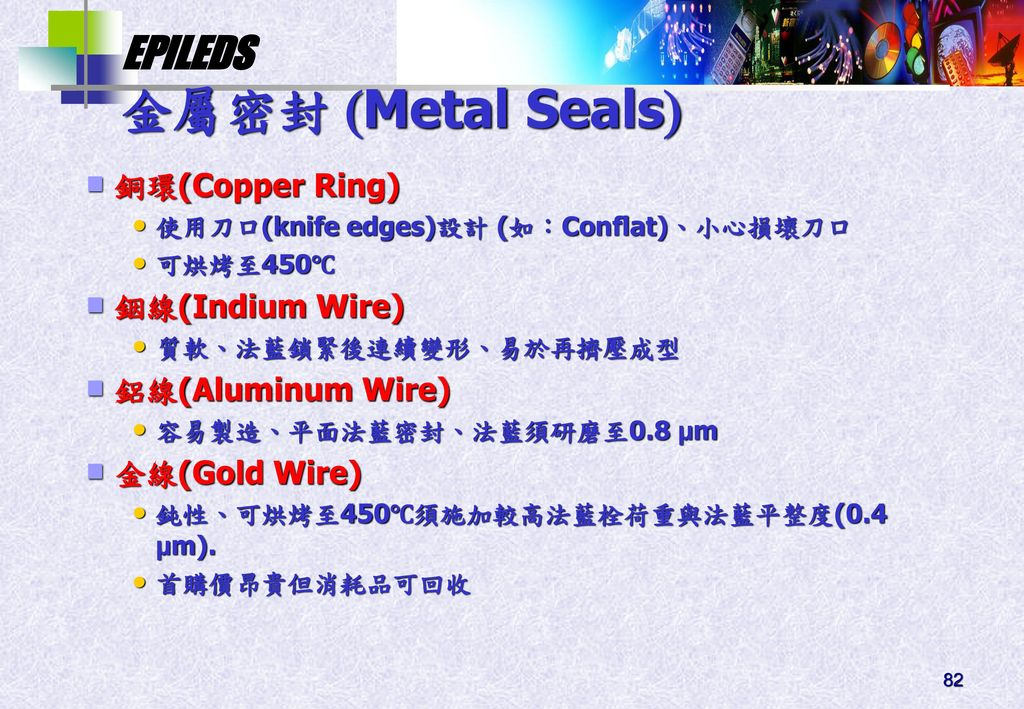 金屬密封 Metal Seals 銅環(Copper Ring) 銦線(Indium Wire) 鋁線(Aluminum Wire)