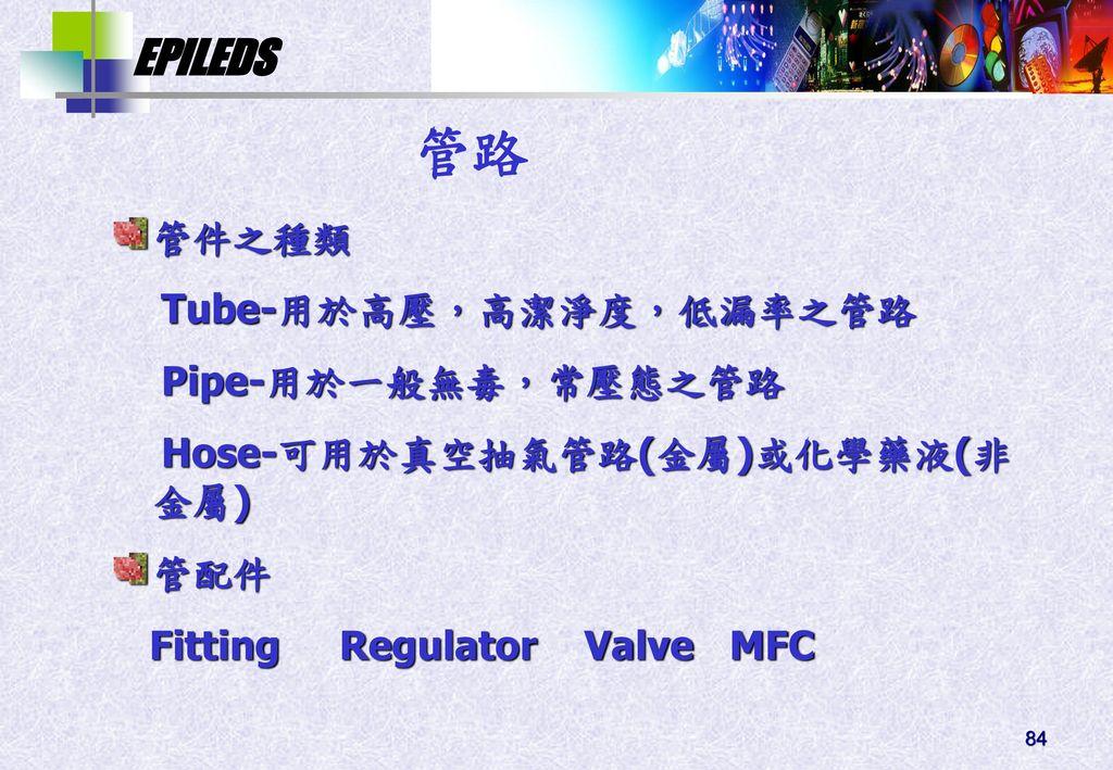 管路 管件之種類 Tube-用於高壓,高潔淨度,低漏率之管路 Pipe-用於一般無毒,常壓態之管路