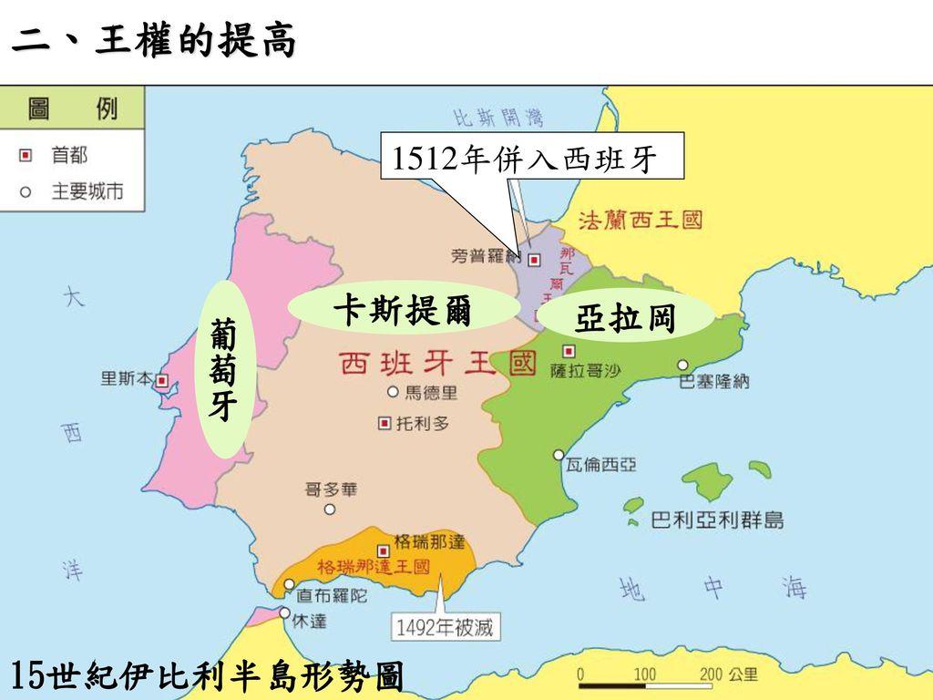 二、王權的提高 1512年併入西班牙 葡萄牙 卡斯提爾 亞拉岡 15世紀伊比利半島形勢圖