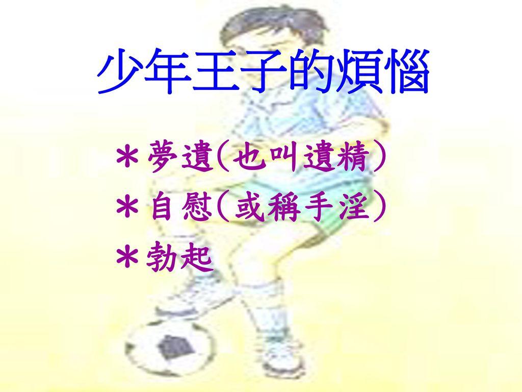少年王子的煩惱 *夢遺(也叫遺精) *自慰(或稱手淫) *勃起