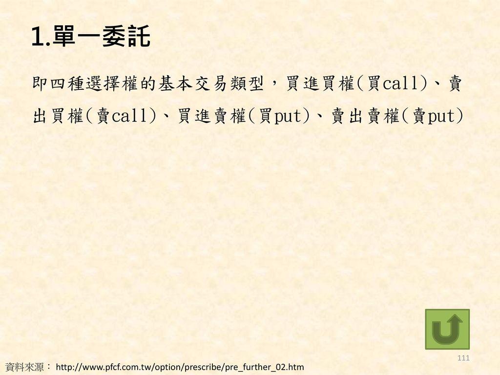 1.單一委託 即四種選擇權的基本交易類型,買進買權(買call)、賣出買權(賣call)、買進賣權(買put)、賣出賣權(賣put)