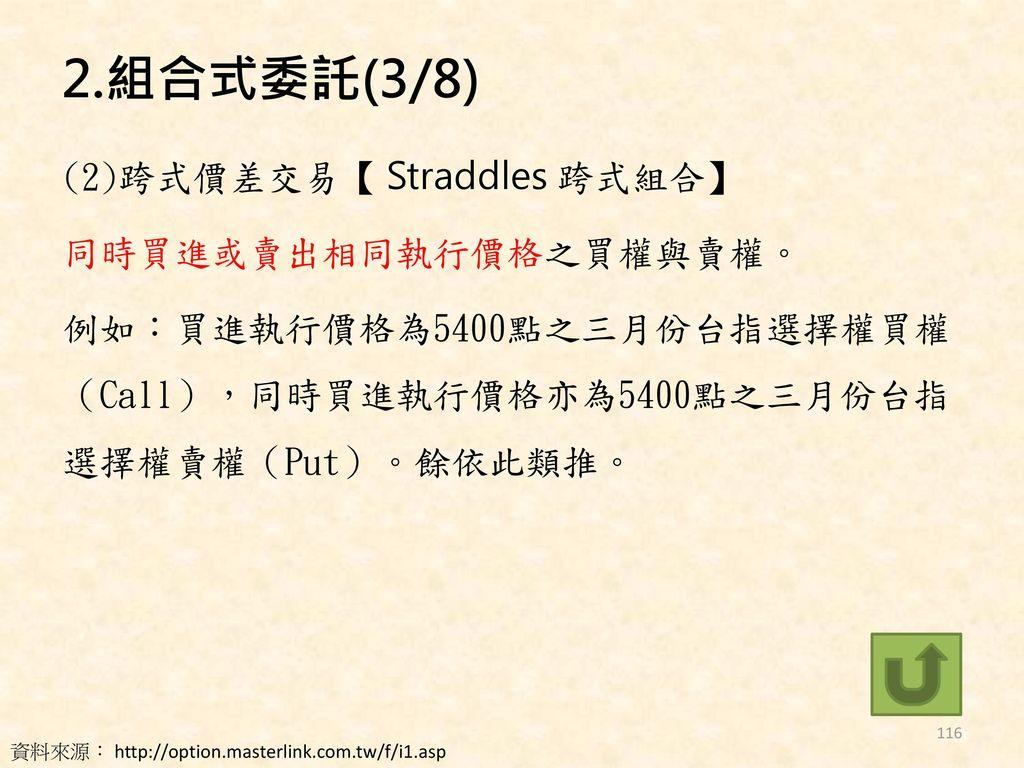2.組合式委託(3/8) (2)跨式價差交易【 Straddles 跨式組合】 同時買進或賣出相同執行價格之買權與賣權。 例如:買進執行價格為5400點之三月份台指選擇權買權(Call),同時買進執行價格亦為5400點之三月份台指選擇權賣權(Put)。餘依此類推。