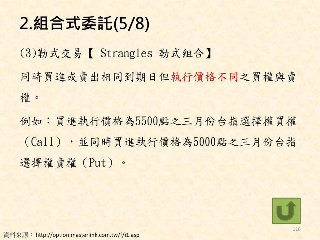 2.組合式委託(5/8) (3)勒式交易【 Strangles 勒式組合】 同時買進或賣出相同到期日但執行價格不同之買權與賣權。 例如:買進執行價格為5500點之三月份台指選擇權買權(Call),並同時買進執行價格為5000點之三月份台指選擇權賣權(Put)。