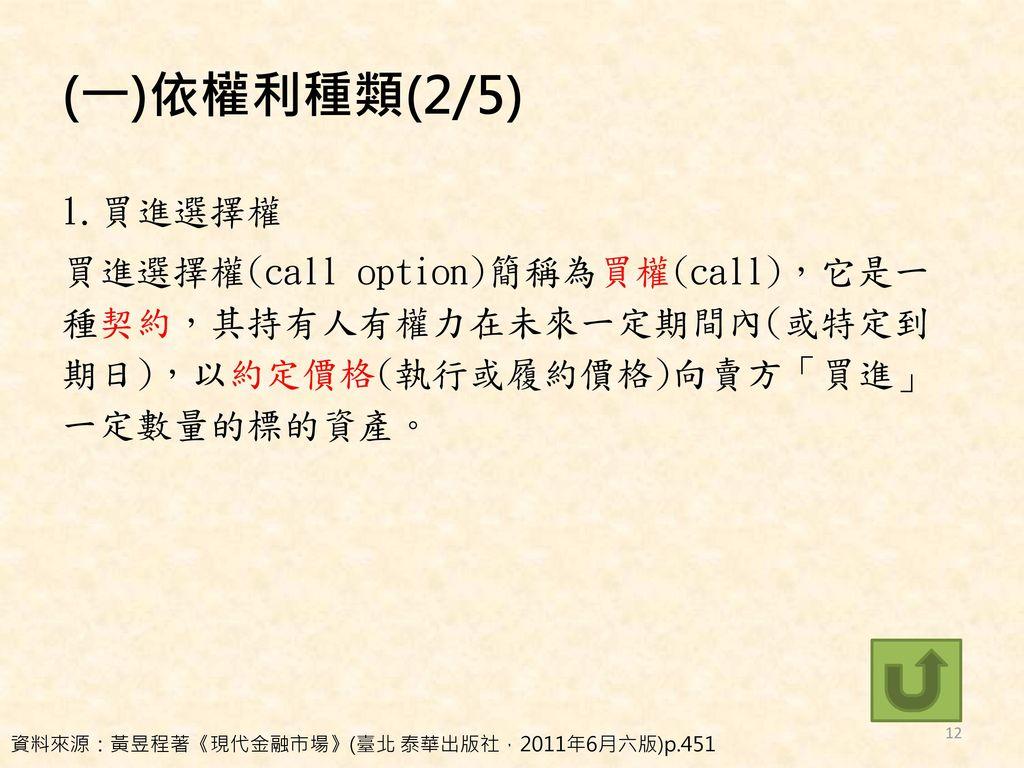 (一)依權利種類(2/5) 1.買進選擇權 買進選擇權(call option)簡稱為買權(call),它是一種契約,其持有人有權力在未來一定期間內(或特定到期日),以約定價格(執行或履約價格)向賣方「買進」一定數量的標的資產。