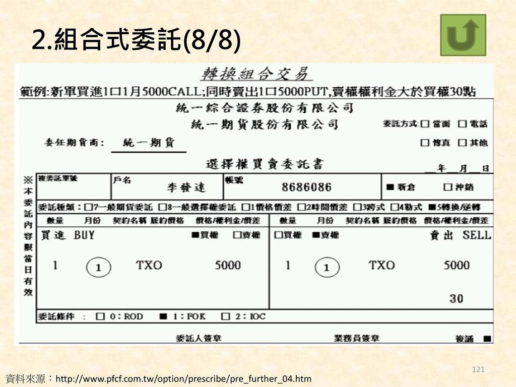2.組合式委託(8/8) 資料來源:http://www.pfcf.com.tw/option/prescribe/pre_further_04.htm