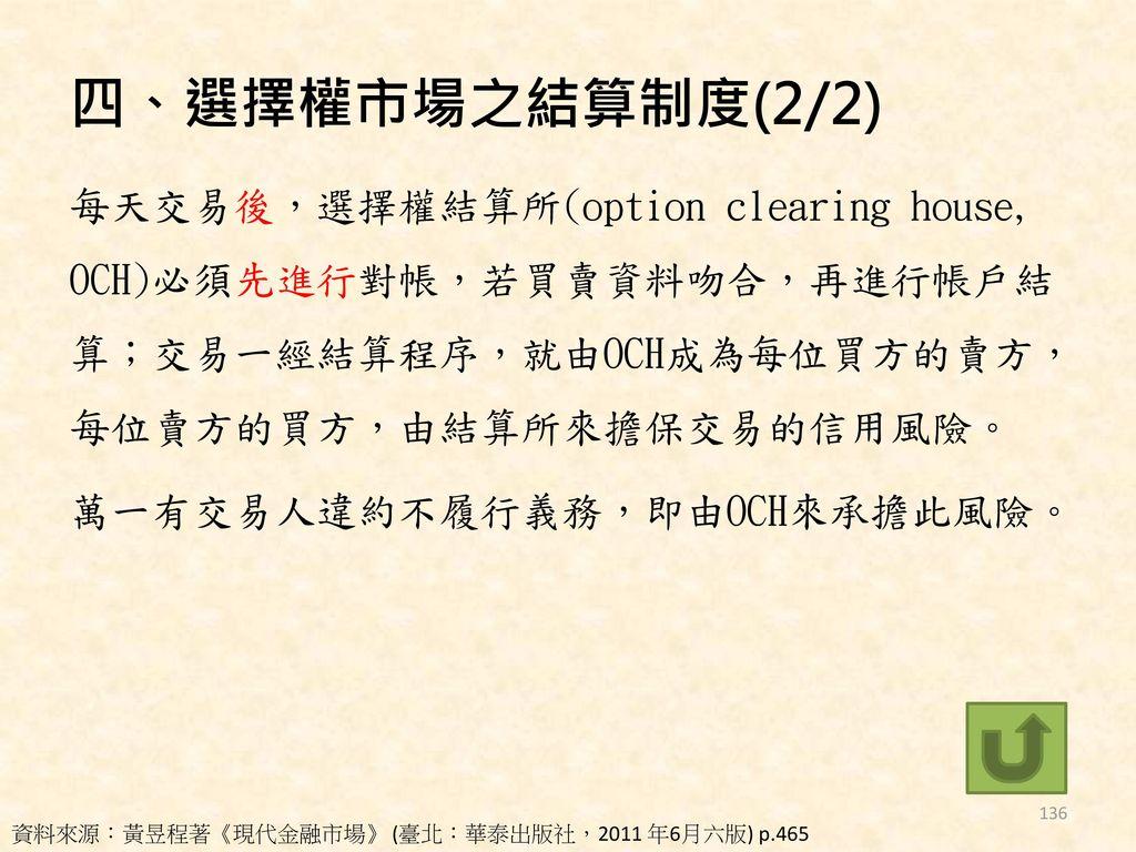 四、選擇權市場之結算制度(2/2)