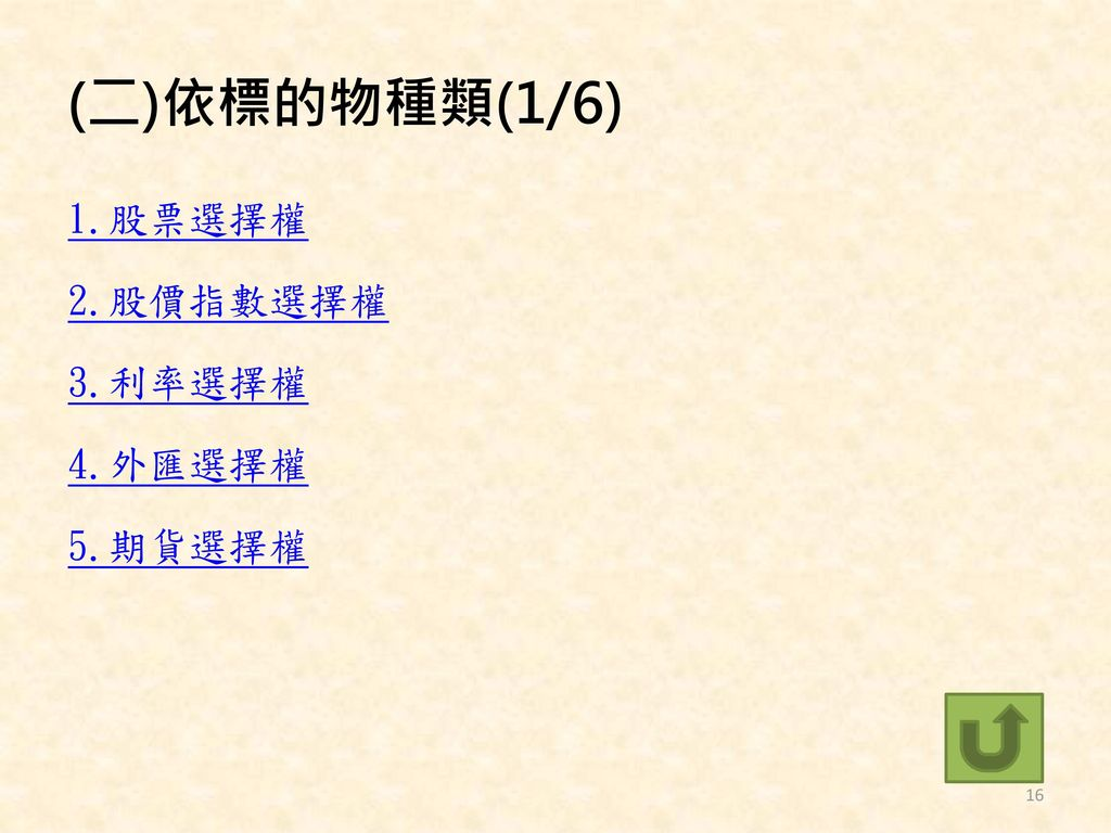 (二)依標的物種類(1/6) 1.股票選擇權 2.股價指數選擇權 3.利率選擇權 4.外匯選擇權 5.期貨選擇權