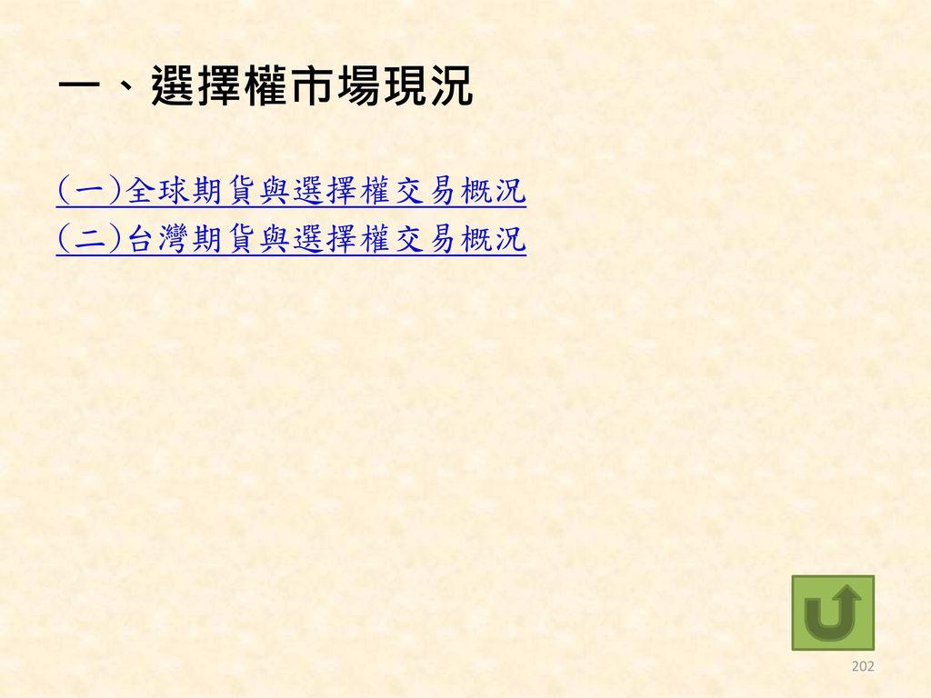 一、選擇權市場現況 (一)全球期貨與選擇權交易概況 (二)台灣期貨與選擇權交易概況