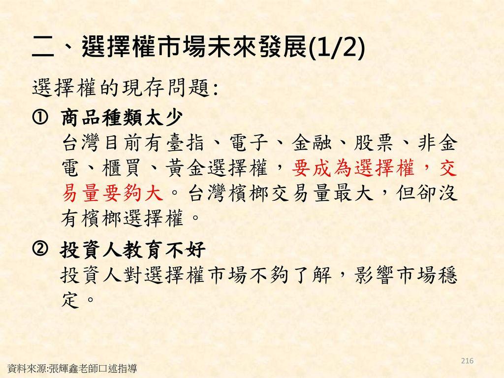 二、選擇權市場未來發展(1/2) 選擇權的現存問題: