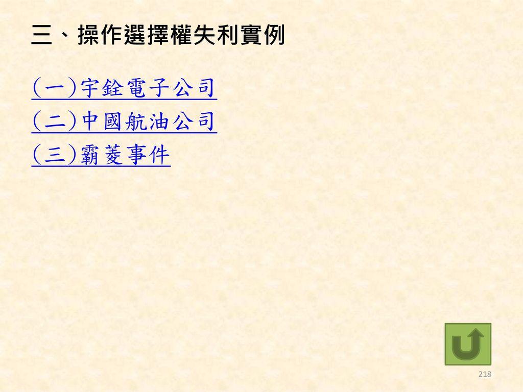 三、操作選擇權失利實例 (一)宇銓電子公司 (二)中國航油公司 (三)霸菱事件