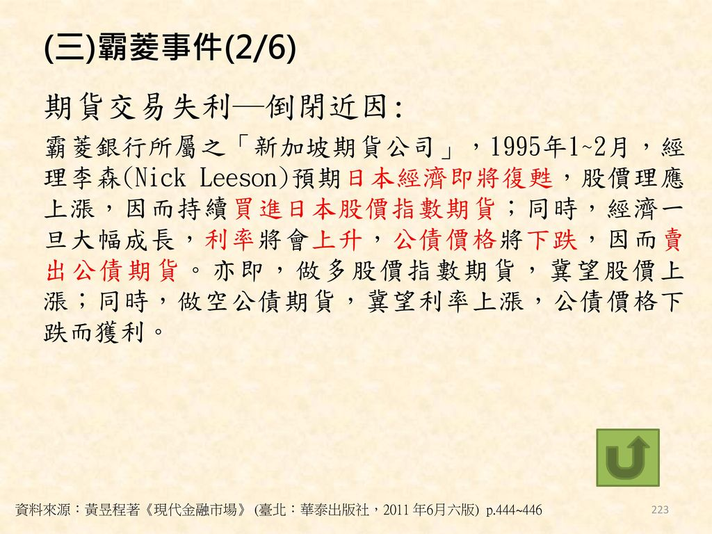 (三)霸菱事件(2/6) 期貨交易失利─倒閉近因: