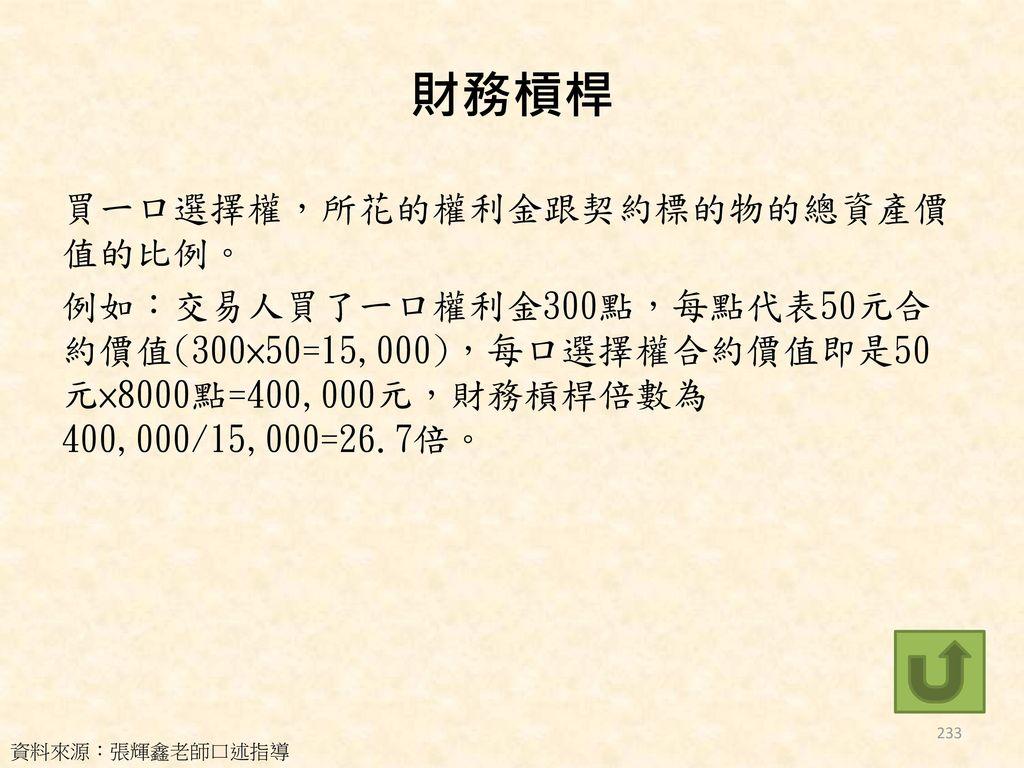 財務槓桿 買一口選擇權,所花的權利金跟契約標的物的總資產價值的比例。 例如:交易人買了一口權利金300點,每點代表50元合約價值(300×50=15,000),每口選擇權合約價值即是50元×8000點=400,000元,財務槓桿倍數為400,000/15,000=26.7倍。